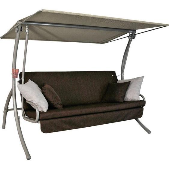 Angerer Freizeitmöbel Hollywoodschaukel »Drift Smart Coffee«, 3-Sitzer, Bettfunktion, inkl. Auflagen und Zierkissen