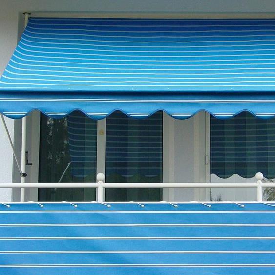 Angerer Freizeitmöbel Klemmmarkise blau-weiß, Ausfall: 150 cm, versch. Breiten