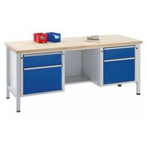 ANKE Werkbank, stabil - Schubladen 2 x 180 mm, 2 x 360 mm, ½ Ablageboden - Buche