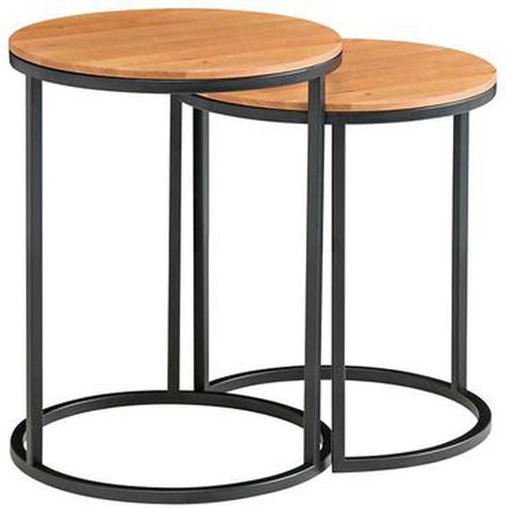 Anstelltisch Set aus Asteiche Massivholz und Metall rund (2-teilig)