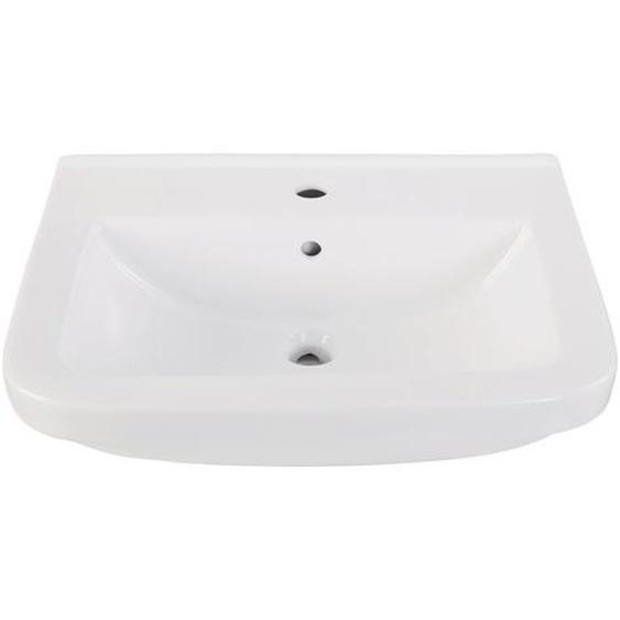 AquaSu Waschtisch Quadra 45 cm, weiß mit Clean-Glasur