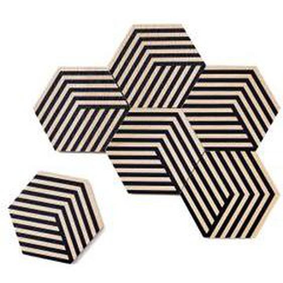 Areaware - Table Tiles Optic Untersetzer 6er-Set, schwarz
