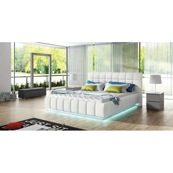 Arete Polsterbett Weiß 140x200 mit LED