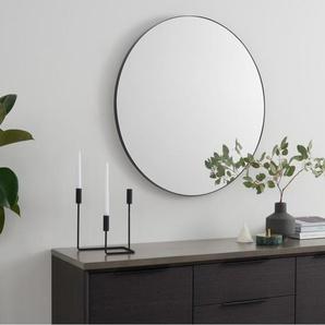 Arles runder Spiegel (85 cm), Mattschwarz