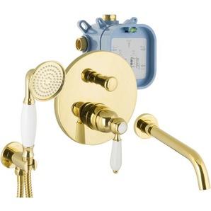 Armaturen Gold Set für Badewannen Unterputz Wanneneinlauf Nostalgie - PAULGURKES