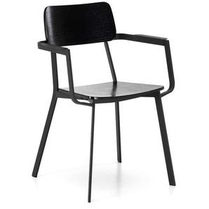 Armlehnen Esstisch Stühle in Schwarz Schichtholz Metall (4er Set)