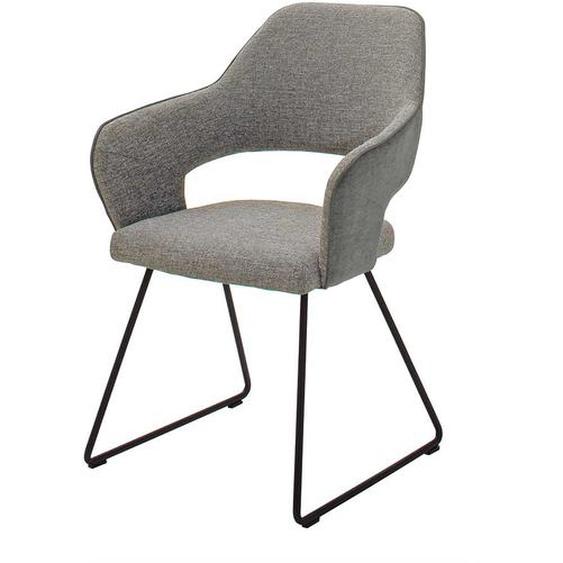 Armlehnen Esstischstühle in Hellgrau Webstoff Metallgestell (2er Set)