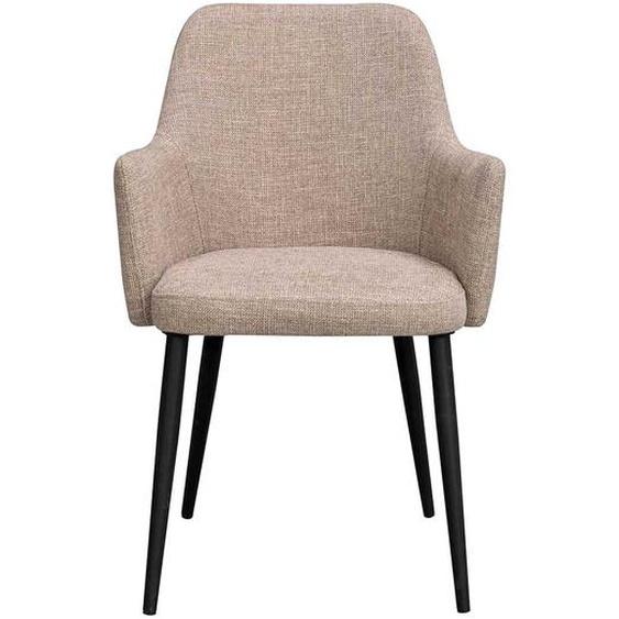 Armlehnen Esszimmerstühle in Beige Webstoff Gestell aus Metall (2er Set)