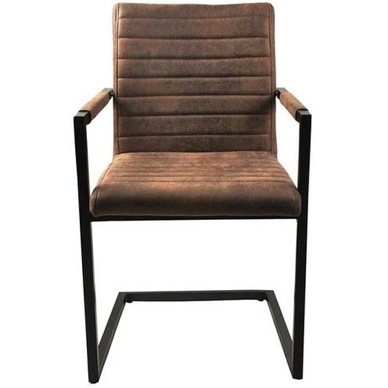 Armlehnen Schwingstühle in Braun Kunstleder Loft Design (2er Set)