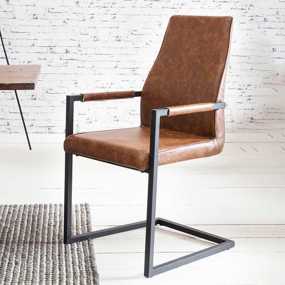 Armlehnen Schwingstühle in Cognac Braun Kunstleder Loft Design (2er Set)