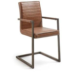 Armlehnen Schwingstuhl in Cognac Braun Kunstleder Stahl (2er Set)