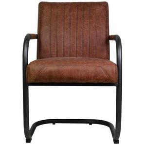 Armlehnen Schwingstuhl in Cognac Braun Recyclingleder Industry Style (2er Set)
