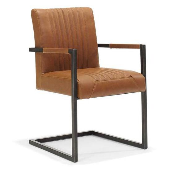 Armlehnen Schwingstuhl in Cognac Braun Schwarz Metall (2er Set)
