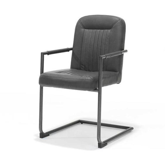 Armlehnen Schwingstuhl in Schwarz Kunstleder 90 cm hoch (4er Set)