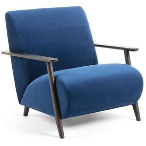 Armlehnen Sessel in Blau Stoff Retrostil