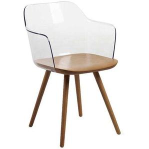 Armlehnenstuhl aus Kunststoff und Buche Massivholz (2er Set)