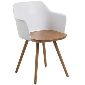 Armlehnenstuhl aus Wei� Kunststoff und Buche Massivholz (2er Set)