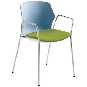 Armlehnenstuhl in Blaugrau und Grün Kunststoff