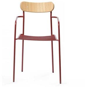 Armlehnenstuhl in Rot und Eichefarben Schichtholz und Stahl (2er Set)