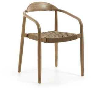 Armlehnstuhl aus Eukalyptusholz Polyesterseil (4er Set)