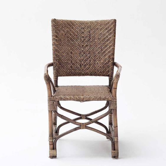 Armlehnstuhl aus Rattan Braun (2er Set)