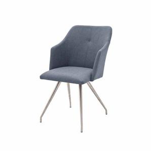 Armlehnstuhl in Blau Grau modern (2er Set)