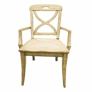 Armlehnstuhl in Creme Holz massiv (2er Set)