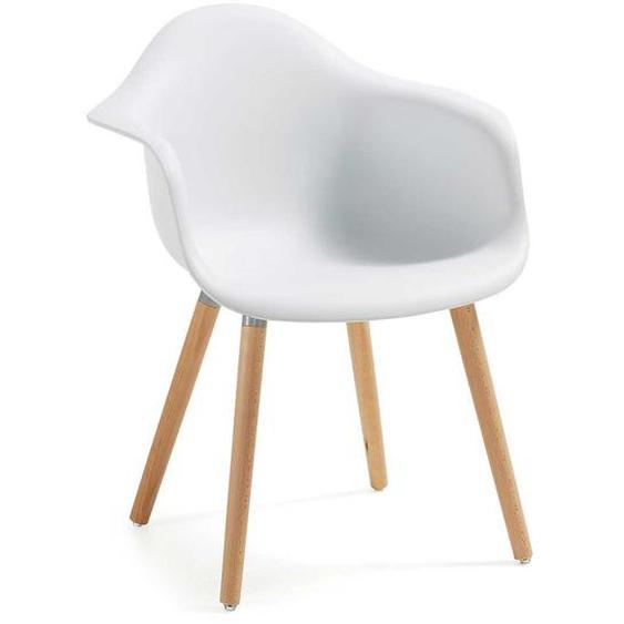 Armlehnstuhl in Wei� Kunststoff Buche Massivholz (2er Set)