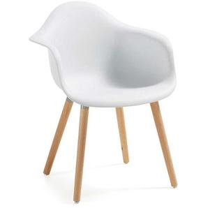 Armlehnstuhl in Weiß Kunststoff Buche Massivholz (2er Set)