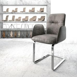 Armlehnstuhl Vinja-Flex Grau Vintage Freischwinger flach verchromt, Esszimmerstühle