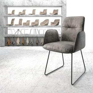Armlehnstuhl Vinja-Flex Grau Vintage Kufengestell schwarz, Esszimmerstühle