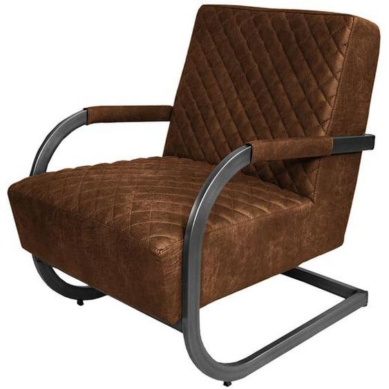 ars manufacti Sessel Cisco Mittelbraun Mischgewebe 87x80x61 cm (BxHxT)