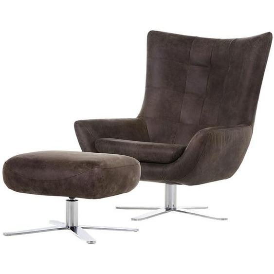 ars manufacti Sessel Itala Dunkelbraun Echtleder mit Hocker 60x42x48 cm (BxHxT)