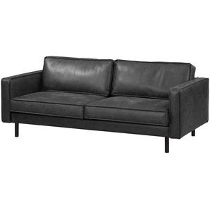 ars manufacti Sofa Fort Dodge 3-Sitzer Schwarz Kunstleder 207x81x96 cm
