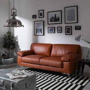 ars manufacti Sofa Parlin 2,5-Sitzer Cognac Echtleder 185x82x95 cm (BxHxT) Industrial