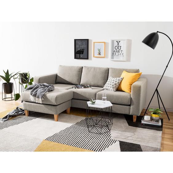Ars Natura Ecksofa Maison II 2-Sitzer Cappuccino Webstoff 210x68x140 cm
