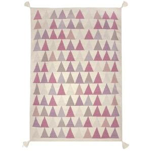 art Kids Für Kinder, 140 x 200 cm - 100 Prozent handgeknüpft hochwertige, robuste und schöne Virgin Wool Kilim-Teppich, Rosa