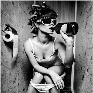 Art & Pleasure Metallbild Shabby woman 1, Menschen B/H/T: 40 cm x 70 20 grau Metallbilder Bilder Bilderrahmen Wohnaccessoires