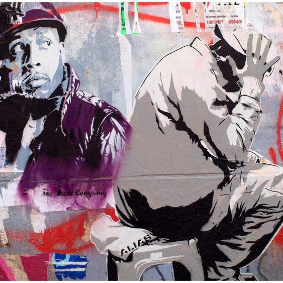 Art & Pleasure Metallbild Street artist, Menschen B/H/T: 120 cm x 90 20 bunt Metallbilder Bilder Bilderrahmen Wohnaccessoires