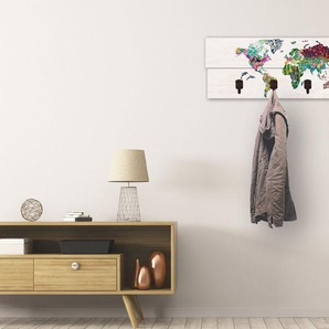 Artland Garderobenpaneel »Bunte Welt auf hölzernem Untergrund«, platzsparende Wandgarderobe aus Holz mit 4 Haken, geeignet für kleinen, schmalen Flur, Flurgarderobe