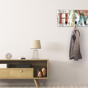 Artland Garderobenpaneel »Buntes zu Hause in taktvollen Farben«, platzsparende Wandgarderobe aus Holz mit 4 Haken, geeignet für kleinen, schmalen Flur, Flurgarderobe
