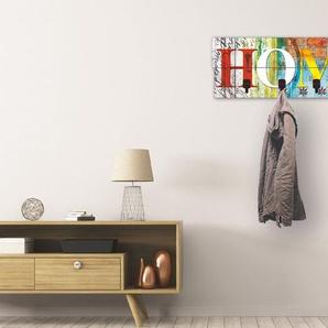 Artland Garderobenpaneel »Buntes Zuhause«, platzsparende Wandgarderobe aus Holz mit 4 Haken, geeignet für kleinen, schmalen Flur, Flurgarderobe