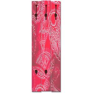 Artland Garderobenpaneel Dekoratives Rot, platzsparende Wandgarderobe aus Holz mit 5 Haken, geeignet für kleinen, schmalen Flur, Flurgarderobe B/H/T: 45 cm x 140 2,8 rot Garderobenpaneele Garderoben