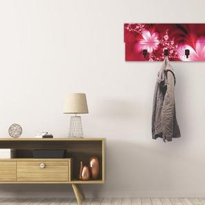 Artland Garderobenpaneel Girlande aus Blumen, platzsparende Wandgarderobe Holz mit 4 Haken, geeignet für kleinen, schmalen Flur, Flurgarderobe B/H/T: 90 cm x 30 2,8 rot Garderobenpaneele Garderoben