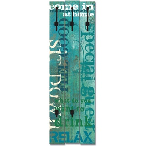 Artland Garderobenpaneel Herein, platzsparende Wandgarderobe aus Holz mit 5 Haken, geeignet für kleinen, schmalen Flur, Flurgarderobe B/H/T: 45 cm x 140 2,8 blau Garderobenpaneele Garderoben