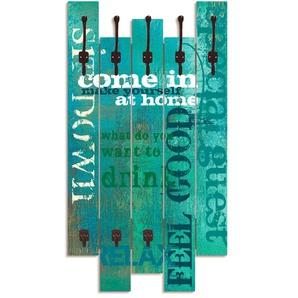 Artland Garderobenpaneel Herein, platzsparende Wandgarderobe aus Holz mit 5 Haken, geeignet für kleinen, schmalen Flur, Flurgarderobe B/H/T: 63 cm x 114 2,8 blau Garderobenpaneele Garderoben