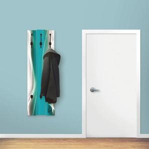 Artland Garderobenpaneel Kreatives Element, platzsparende Wandgarderobe aus Holz mit 4 Haken, geeignet für kleinen, schmalen Flur, Flurgarderobe B/H/T: 45 cm x 140 2,8 blau Garderobenpaneele Garderoben