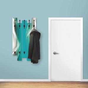 Artland Garderobenpaneel Kreatives Element, platzsparende Wandgarderobe aus Holz mit 4 Haken, geeignet für kleinen, schmalen Flur, Flurgarderobe B/H/T: 63 cm x 114 2,8 blau Garderobenpaneele Garderoben