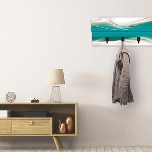 Artland Garderobenpaneel Kreatives Element, platzsparende Wandgarderobe aus Holz mit 4 Haken, geeignet für kleinen, schmalen Flur, Flurgarderobe B/H/T: 90 cm x 30 2,8 blau Garderobenpaneele Garderoben
