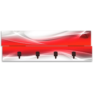 Artland Garderobenpaneel »Kreatives Element Rot für Ihr Art-Design«, platzsparende Wandgarderobe aus Holz mit 4 Haken, geeignet für kleinen, schmalen Flur, Flurgarderobe